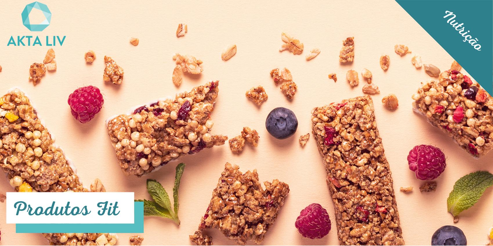 Blog sobre produtos fit com Diversas Barras de cereal espalhadas em superfície